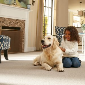 Kid with dog on Carpet | McCurleys National Flooring